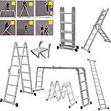 4.7M 15.5Ft Multi-Purpose Folding Aluminium Ladder 16 Steps Foldable Step Stair Ladder Decorating Ladder Combination Step Ladder Building Ladder with Safety Tool Platform for Indoor Outdoor Works