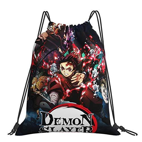 Bolsas Demon Slayer Kimetsu No Yaiba Mochila con cordón para deportes, gimnasio, para mujeres, hombres, niños, yoga, gimnasio, natación, viajes, playa, talla única