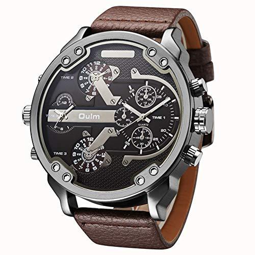 Oulm - Reloj de cuarzo para hombre (piel), color marrón