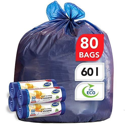 Stella Bolsas para Contenedores de Basura - Ecológicas y Reciclables - Hechas de Plástico de Desecho - Bolsas de Basura Resistentes - Color Azul Oscuro - 60L - con Asa Superior