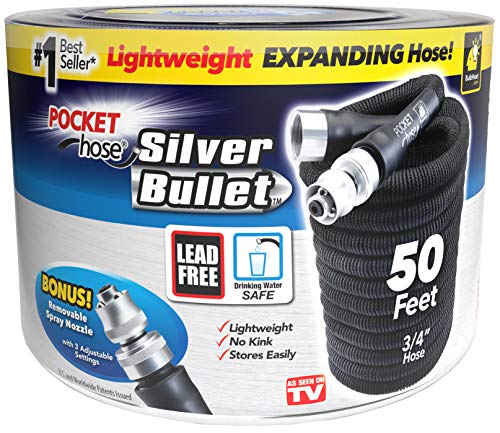 Pocket Hose Original Silver Bullet (50 Ft) Lightweight Water Hose by BulbHead - Expandable Garden Hose That Grows with Lead-Free Connectors - Safe Drinking Water Hose – Kink-Resistant & Stores Easily!