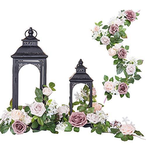 Ling's Moment Set von 6 Rosen Blumen Arrangement Girlande für 17,8 cm Laterne Tafelaufsatz Herbstdeko Hochzeit Party Tischdekoration (Rouge)
