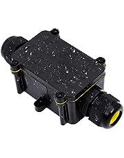 Anicoll Aftakdoos, IP68 waterdichte kabelverbinders, grotere 3-weg verbindingsdoos aardkabel zwart elektrische verdelerdoos, M25 kabelkoppeling Ø 4 mm-14 mm ABS + PVC 2-set