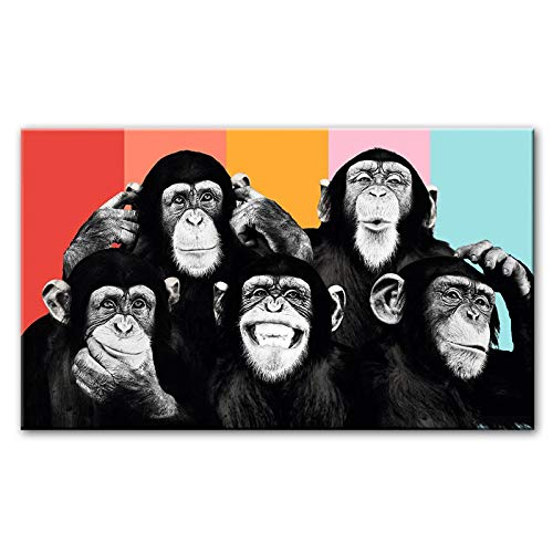 Funny Monkeys Graffiti Canvas Paintings On The Wall Posters And Prints Modern Animals Wall Art Canvas Pictures Kids Room Decor-40x80cm No Frame