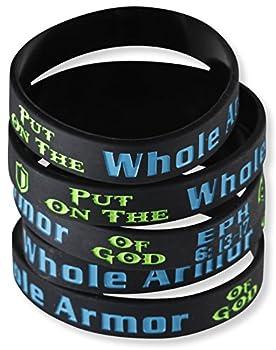 Put on the Whole Armor of God Ephesians 6 13-17 Silicone Bracelet Wristbands  10 Bracelets
