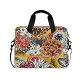 RELEESSS Laptop-Hülle im Vintage-Stil, florales Muster, Laptop-Handtasche, Aktentasche, Kuriertasche, Tragetasche, Tasche, verstellbarer Schultergurt