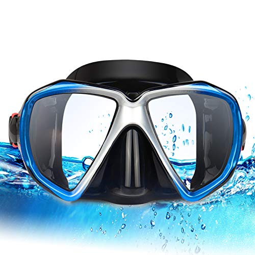 EXP VISION Snorkel Diving Mask, Panoramic HD Scuba Swim Mask, Tempered Anti-Fog Lens Glasses Snorkel Goggles, Scuba Dive Snorkel Mask with Silicone Skirt Strap for Dry Snorkeling, Swimming (Blue)