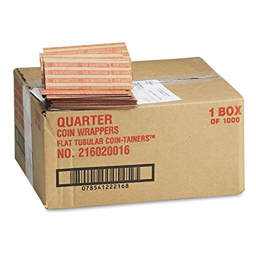 Coin-Tainer Company Pop-Open Flat Paper Coin Wrappers – Quarters – 1,000 ct.