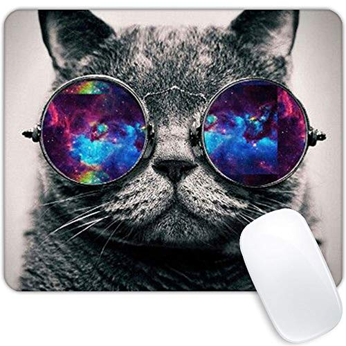 Space cat Mouse pad,Personality Watercolor Flower Design Rectangle Non-Slip Rubber Waterproof Mouse Pads Mouse pad for Office,Gameing Colorful Inspirational Quotes Mouse pad