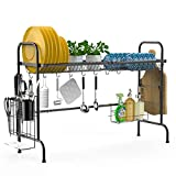 Over The Sink Dish Drying Rack iSPECLE Large Stainless Steel Above Sink Dish Rack with Utensil Holder Hooks Non-Slip Adjutsable Feet for Kitchen Sink, Black