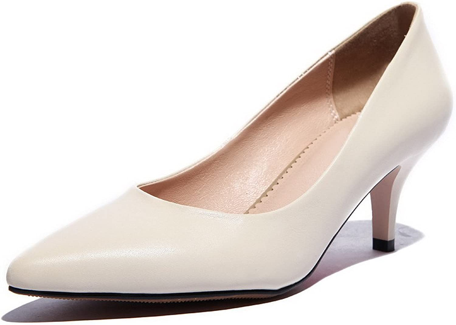 WeiPoot Women's Soft Material Solid Closed Toe Pumps with Winkle Pinker