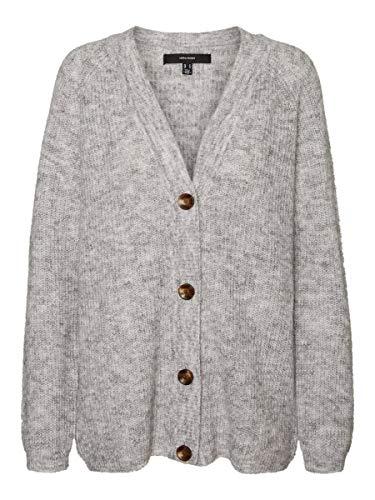 Vero Moda VMDAISY LS Button Rib Cardigan GA Boo Chaqueta Punto, Gris Claro, XS para Mujer