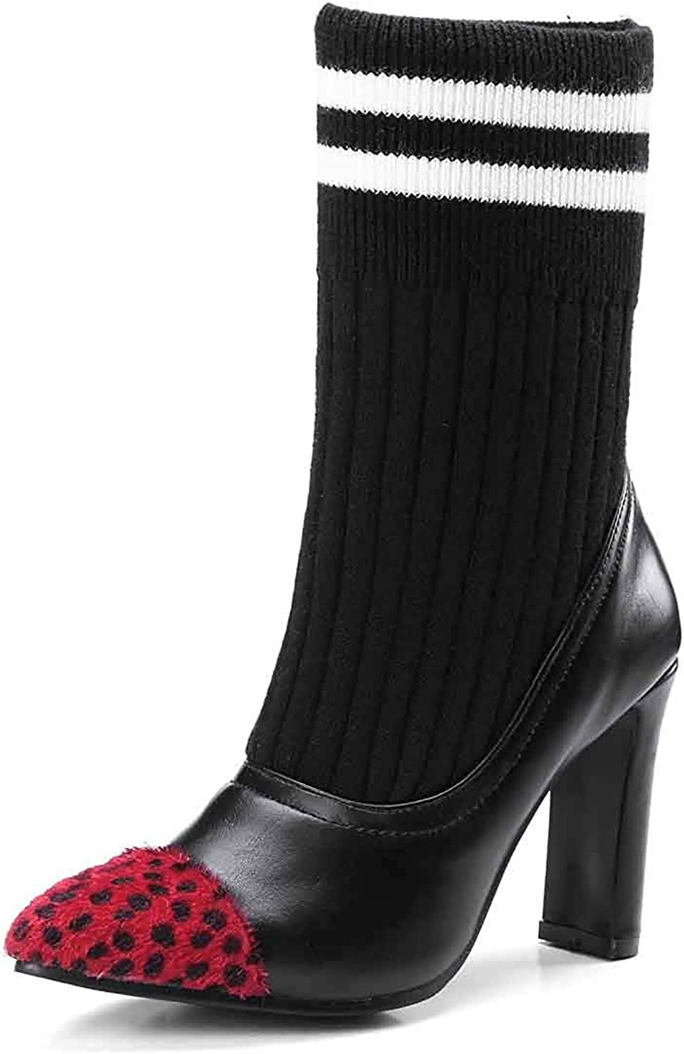 Women's color-Contrasted Sock Mid Calf Boots - Stretchy Pointed Toe Pull On - Martin High Chunky Heel