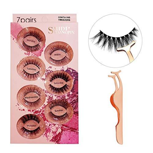 IBeauty Faux Cils Faux 3D Faux Cils Mink Set, Maquillage Dramatique Regardez Cils Extension Longue Main Souple épais Cils resuable, 7 Paires (Size : Mixed)
