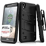 ZIZO Bolt Series LG X Power Case Military Grade Drop Tested with Tempered Glass Screen Protector, Holster, Kickstand Black