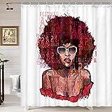 Schwarzer Gril Duschvorhang, Afro American Girl mit Sonnenbrille auf Grunge Buchstaben, Duschvorhang mit Haken, Stoff Duschvorhang für Badezimmer 177 x 178 cm