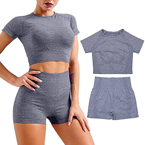 Genfien Damen Yoga Anzug Fitness Damen Fitness Kleidung 2er-Set Trainingsanzug Nahtloses Yoga Suit Shirt Kurzarm Hosen Leggings Hoher Taille Gym Joggen Enge Sportanzüge