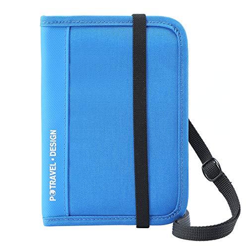 パスポートケース スキミング防止 パスポートバッグ 防水 軽量 210Dナイロン素材 首下げ 防犯対策 貴重品入れ スマホ収納可 海外旅行グッズ 男女兼用