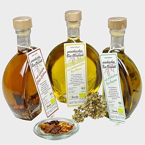 direct&friendly Bio Geschenkset 3 Flaschen Bio Olivenöl mit Chili und Oregano