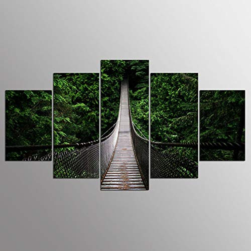 5 Canvas paintings Art Pictures Living Room Wall HD Printed Canyon Suspension Bridge Landscape Home Decor Posters Modern Painting Frameless