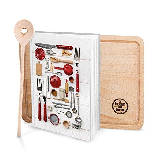 Cadeauset klein receptenboek om zelf te schrijven, rood-wit keuken, DIN A5 + kooklepel + grote houten plank met recepten verzamelen, lievelingsrecepten, boek om in te schrijven