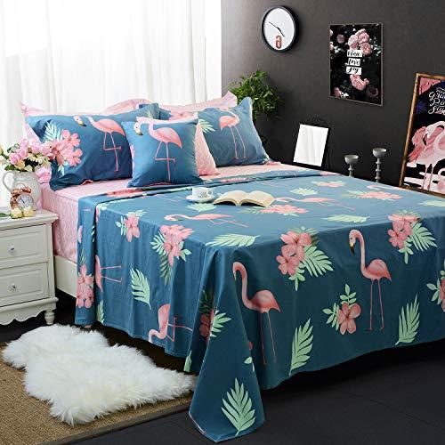FADFAY Navy Blue Flamingo Bird Print Bed Sheet Set Cotton Pink Sheets 4-Piece Twin Size