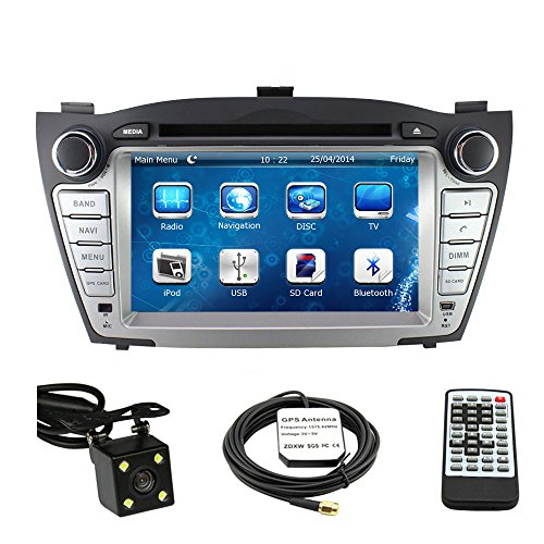 Car Stereo DVD Player for Hyundai Tucson 2011 2012 2013 2014 2015 Double Din 8 Inch Touch Screen TFT LCD Monitor In-dash DVD Video Receiver Car GPS Navigation System with Built-In Bluetooth TV Radio, Support Factory Steering Wheel Control, RDS SD/USB iPod AV BT AUX IN+ Free Rear View Camera + Free GPS Map of USA