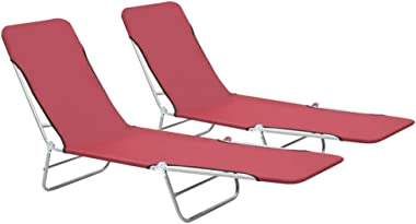 """Folded Chaise Lounge 2 pcs Steel and Fabric Beach Sun Chair 22"""" x 71.7"""" x 9.6"""" by BLUECC (Red)"""