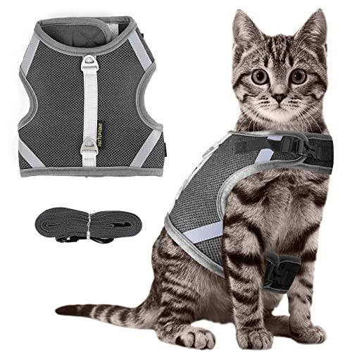 Arnes Gato Anti-Escape con Malla,Ajustable Arnés para Gato , Tiras Reflectantes de Borde Completo Que brindan protección para Gatos Que Caminan de Noche (M, Gris)