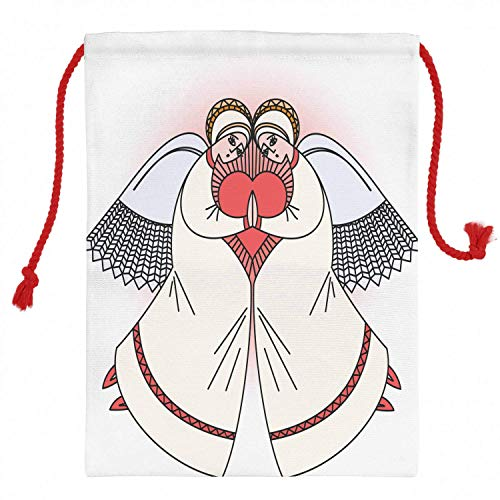 Tr674gs Angel Wings Christmas Sack 19.8' x 25.9', Christmas Character for Love Valentines Concept, Santa Sack Bag Canvas Fabric for Gifts And Storage, Christmas Bag, Dark Coral Ivory