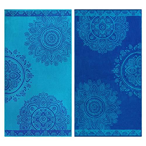 SUPERIOR 100% Cotton Floral Mandala (Set of 2) Oversized Beach Towel - Blue