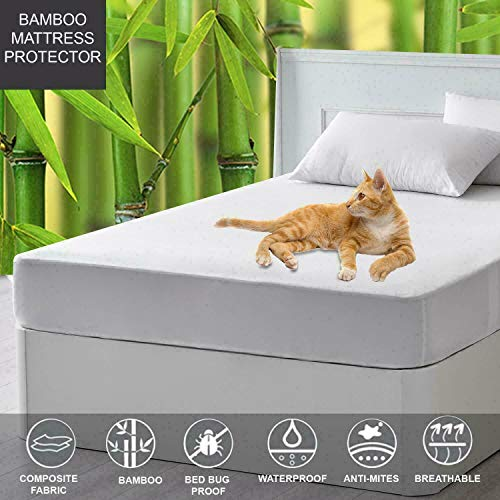 Sapphire Collection Bamboo Waterproof Mattress Protector, Hypoallergenic Against Bed Bugs Dust Mite Quilted Mattress Cover, Extra Deep Cotton (ivory, (Double 137cmx190cm(35CM DEEP))