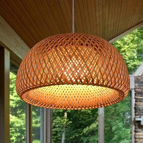 Landhausstil Vintage Pendelleuchte Hängeleuchte Handgewebt Pendellampe Bambus Lampenschirm E27 Höhenverstellbare Kreative Retro Restaurant Kronleuchter Schlafzimmer Wohnzimmer Café Hängelampe,38cm