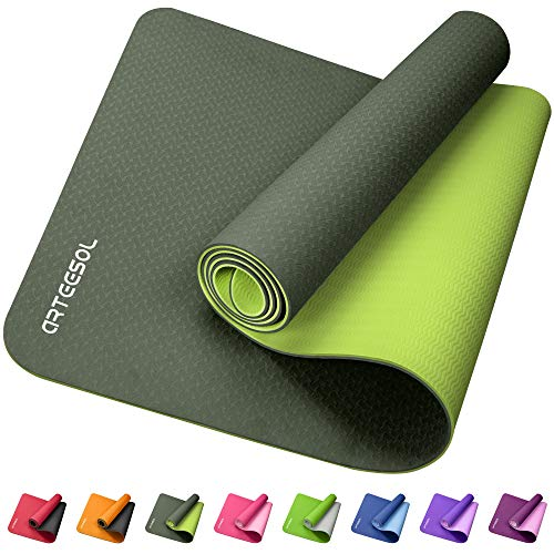 arteesol Yoga Mat Exercise Fitness Non Slip Yoga Mats for Women Men 1/4 Inch Thick, TPE Pad Workout Pilates Mats With Carry Strap, Floor Home Gym 72