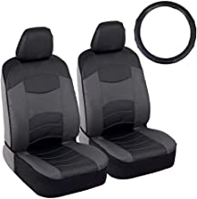 BDK v-Leather Car Seat Covers & Steering Wheel Cover for Auto Care - Synthetic Leather Material - Carbon Fiber Accent Steering - Front Seat Coverage Protection (Dark Gray)
