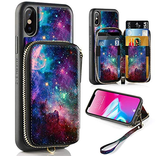 ZVE Case for Apple iPhone Xs and iPhone X, 5.8 inch, Zipper Wallet Case of Leather Shockproof Cover with Credit Card Holder Slot Handbag Purse Print Cover for Apple iPhone Xs and X - Starry Sky