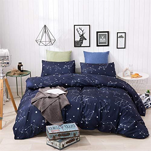 Copripiumino cielo stellato blu scuro Set Copripiumino Appartamento hotel Microfibra Set copripiumino matrimoniale Copripiumino Letto matrimoniale con federe Double:200X200+50X75X2