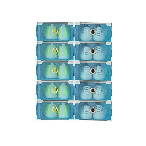 Vinteky® 10x Cajas Almacenaje Plegable de plástico Cajón Organizador Transparente envase de la Caja para Zapatos Apilable Plegable Contenedor. (Azul, Metal Border)