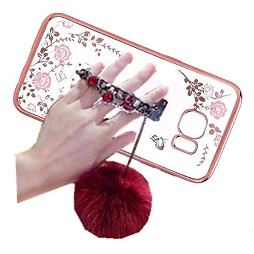 Huawei P8 Case,Rhinestone Hand Chain Holder Bracelet Fur Ball [Secret Garden] Flower Diamonds Frame Plating Bumper Soft Flexible TPU Transparent Skin Case for Huawei Ascend P8(Holder Red)