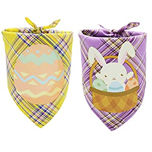 2 PCS Easter Dog Bandana Reversible Triangle Bibs Pet Scarf Accessories with Egg and Bunny Pattern for Medium to Large Dogs