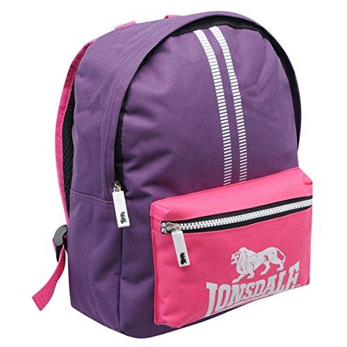 Lonsdale Mini-Rucksack mit Reißverschluss, Violett/Rosa, Einheitsgröße