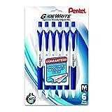 Pentel GlideWrite Ballpoint Pen with TechniFlo Ink, (1.0mm) Medium Line, Blue Ink, 6-Pk