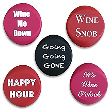 5 Wine Stoppers - Funny Silicone Reusable Corks Best Wine Gifts Add Your Own Personalized Touch on Bottles Top Perfectly Fits to Seal and Preserve Your Favorite Wine Cap Wedding Favor Accessories
