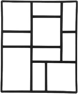 Topeakmart 23.8 x 19.9 x 1.7 inch Concrete Paving Stepping Stone Mold Path Walk Maker Paver Walk Way, Rectangular Patterns with 10 Grid Black
