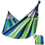 KJLM Hamaca para Acampar de algodón para jardín, Individual o Doble, Acampar y para Exteriores o para Jardines y Viajes (Azul 210x80)
