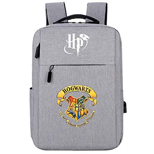 Hogwarts Badge Magic Rucksack , Harry College Laptop Rucksack , Potter Travel Leisure Bag , mit USB-Ladeanschluss HP.2025 grau