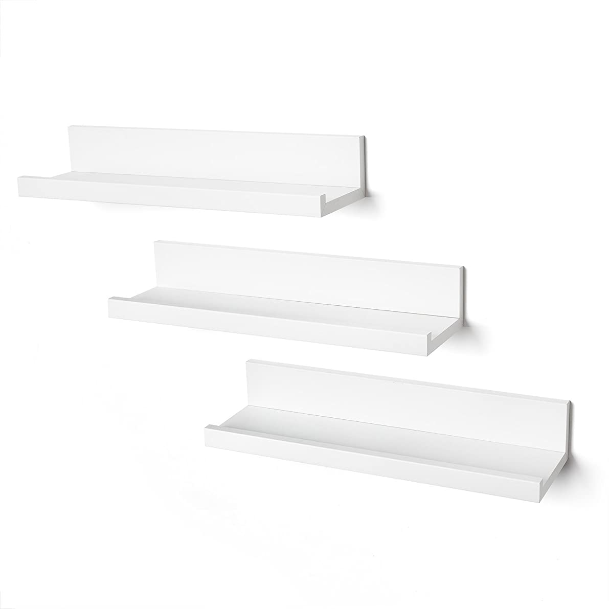 Americanflat Set of Three 14 Inch Floating Wall Shelves - White,