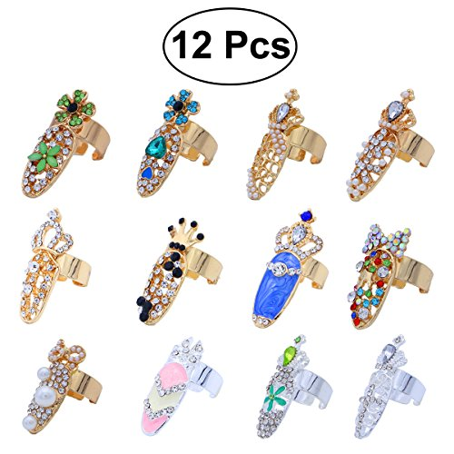 frcolor Nail Ringe, Crystal Bowknot Crown Flower Nail Art Charms Ringe-Spitze Nagel, 12 Teile