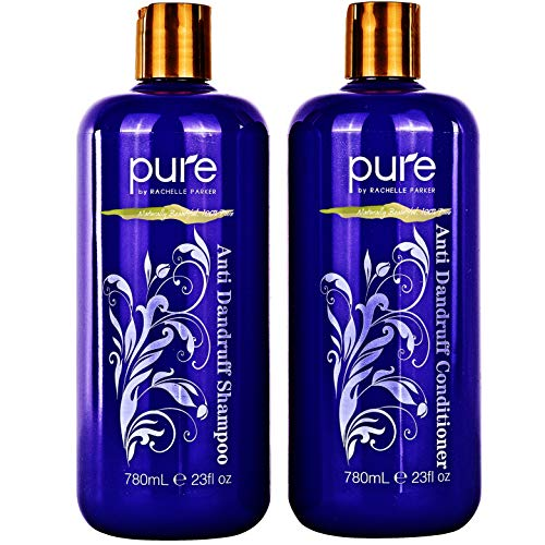 Moisture Renewal Anti Dandruff Shampoo and Conditioner set for Men & Women. Organic Anti Dandruff and Itchy, Flaky Scalp Treatment. 100% Natural and Safe for all Hair Types.