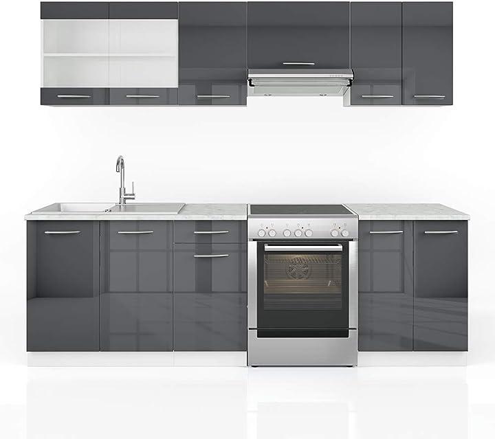 Cucina vicco raul cucina componibile su misura, da 240 cm, di colore antracite lucido B08TMKWJLP